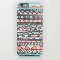 iPhone & iPod Case featuring Tribal #4 (Coral/Aqua) by haleyivers