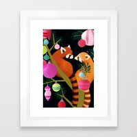 Red Pandas in Christmas Tree Framed Art Print