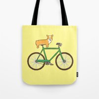 Corgi On A Bike Tote Bag
