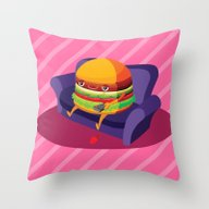 Lazy Hamburger Throw Pillow