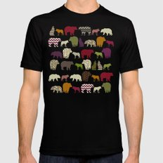 bear wolf geo party pink SMALL Mens Fitted Tee Black