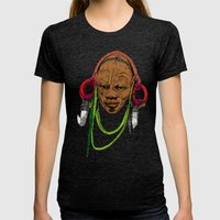 AFRICA Womens Fitted Tee Tri-Black SMALL