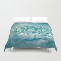 Blushing Caribbean Waters Peony - Floral Duvet Cover