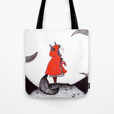 Red Riding Howl Tote Bag