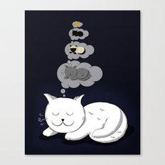 A cat dreaming of a cat that dreams of dreaming of a cat that dreams of dreaming of a cat. Canvas Print