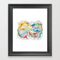 Technicolor Mountains Framed Art Print