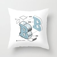 The Exploded Alphabet / B Throw Pillow