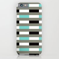 Turquoise, black & gray line pattern iPhone 6 Slim Case