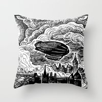 Steampunk Skyline Throw Pillow