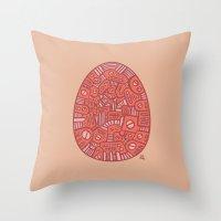 Red Mechanical Egg Throw Pillow