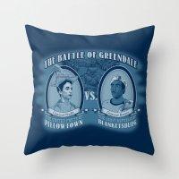Pillowtown vs Blanketsburg Throw Pillow