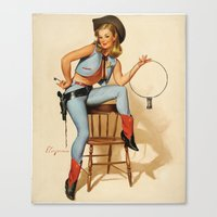 Cowgirl Pin-up Girl Canvas Print