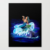 Mermaid with Dolphin Canvas Print
