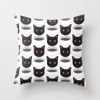 Cat Face & Bowl Throw Pillow