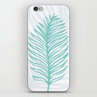 Palm Leaf In Blue And Gr… iPhone & iPod Skin