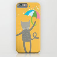 iPhone & iPod Case featuring a cat is always prepared for the rain by PinkNounou