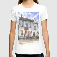 The Bull Pub Theydon Bois Watercolour Womens Fitted Tee White SMALL