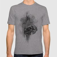Cat Skull Charcoal Drawing Mens Fitted Tee Athletic Grey SMALL