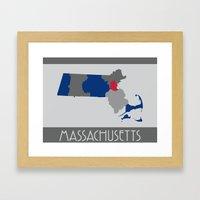 Massachusetts State Map Print Framed Art Print