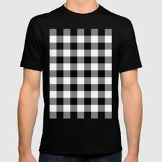 Gingham (Black/White) SMALL Mens Fitted Tee Black