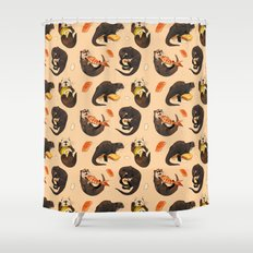 Tiny otters and their sushi Shower Curtain