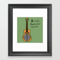R Is For Resonator Guita… Framed Art Print