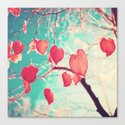Our hearts are autumn leaves waiting to fall (Pink - Red fall leafs and brilliant retro blue sky) Canvas Print