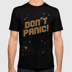Don't Panic! Pixel Art Mens Fitted Tee Black SMALL