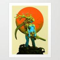 Red Moon Hunter Art Print