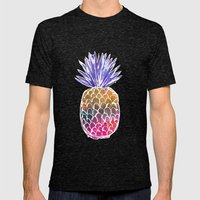 GoodVibes Pineapple Mens Fitted Tee Tri-Black SMALL