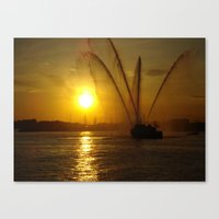 Fireboat at Sunset Canvas Print
