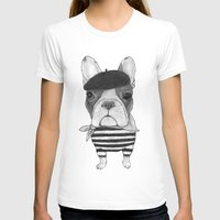 French Bulldog. (black and white version) Womens Fitted Tee White SMALL