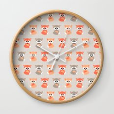 Baby foxes pattern Wall Clock