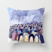 Huddling Penguins Throw Pillow