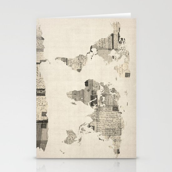Map of the World Map from Old Postcards Stationery Card