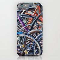 iPhone & iPod Case featuring Lots of colorfull bicycles by Claude Gariepy