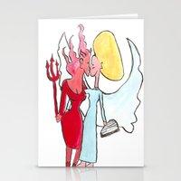 Angel/devil lesbian kiss Stationery Cards