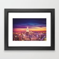 New York City Dusk Sunse… Framed Art Print