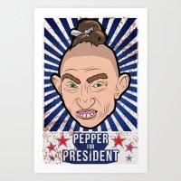 Pepper For President Art Print