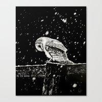 Snowfall at Night (Owl) Canvas Print