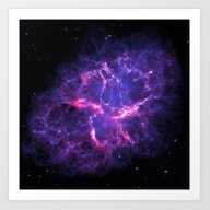 Pink Purple Crab Nebula Art Print