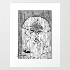 asc 514 - La fille qui aimait la pluie (Rider on the storm) Art Print