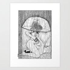 asc 514 - La fille qui aimait la pluie (Rider on the storm) Art Print