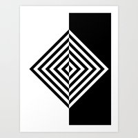 Black and White Concentric Diamonds Art Print