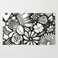 Flowers On The Wall Black & White Edition Rug