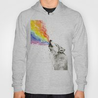 Wolf Rainbow Watercolor Howling Hoody