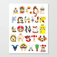 Super Mario Alphabet Canvas Print