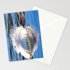 Swan Feather on Lake Stationery Cards