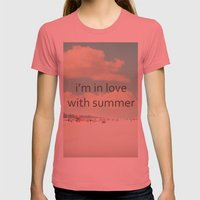 I'm In Love With Summer Womens Fitted Tee Pomegranate SMALL
