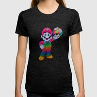 Mario Bros Womens Fitted Tee Tri-Black SMALL